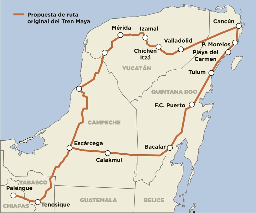 Itinéraire du train maya