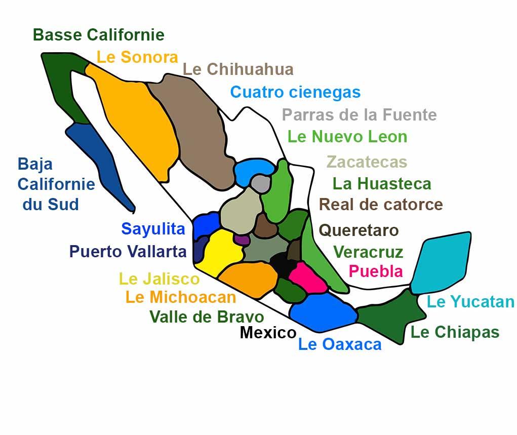 Carte des Destinations Passion Mexique